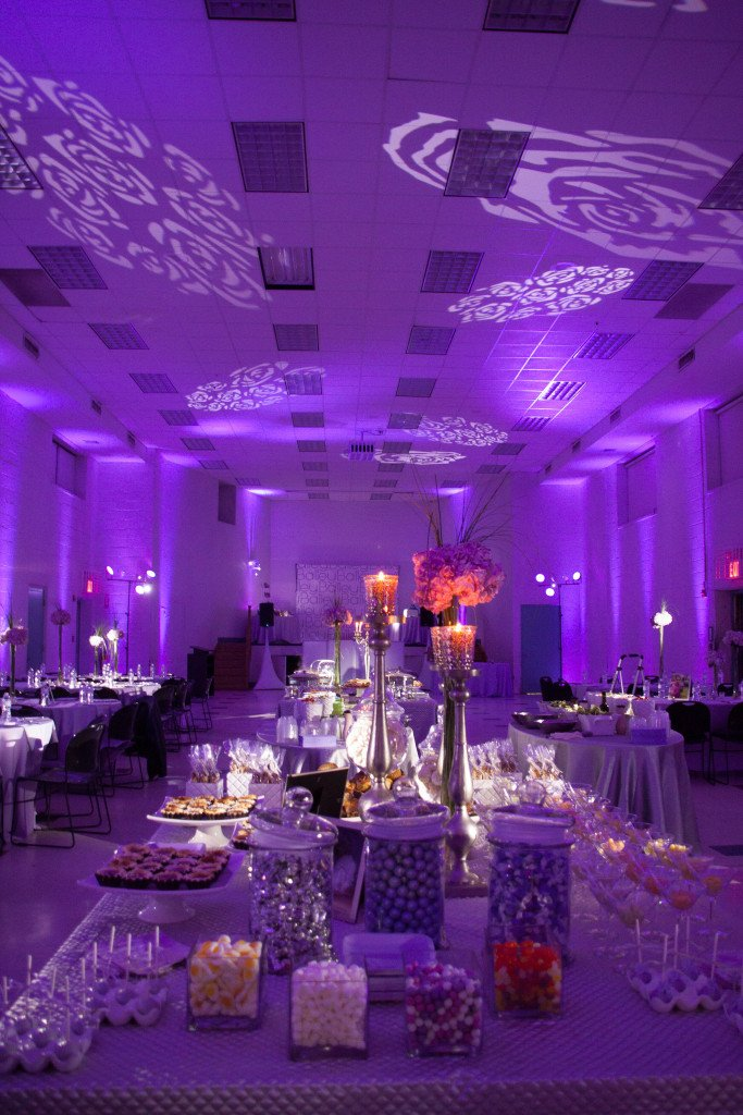 Event Planner NY Lavender Purple lighting & Ceiling Flowers  (800) 736-8888