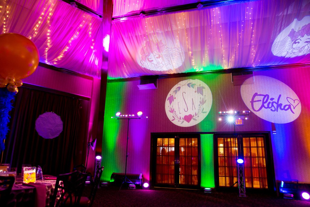 Our Gobos, mixed lights paints walls & ceiling - Event Planner NY (800) 736-8888