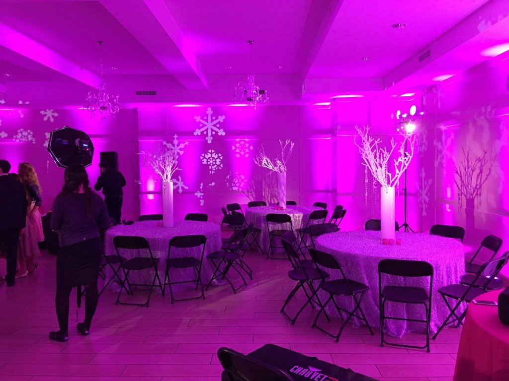 Pink Snowflake on walls & spotlights - Event Planner NY (800) 736-8888