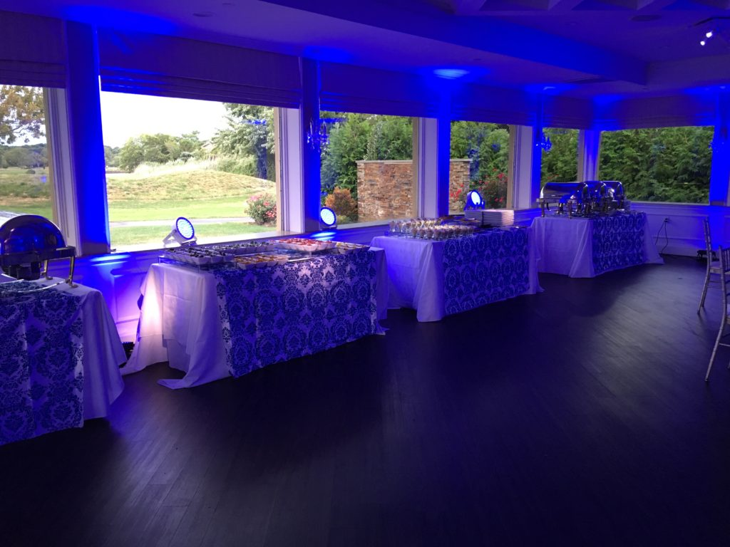 Strong Royal Blue lights even during the day at Lawrence country club Event Planner NY - EventPlannerNY.com (800) 736-8888