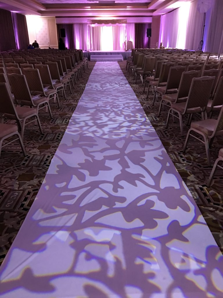 The Atrium - Patterned Lighting for Wedding Aisle, call now to reserve your date Event Planner NY EventPlannerNY.com (800) 736-8888